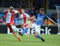 Danske Bank Premiership, Mourneview Park, Lurgan 4/8/2018. Glenavon FC vs  Linfield FC. Glenavon\'s  Niall Grace    and  Kirk Millar   of Linfield.. Mandatory Credit @INPHO/Brian Little.
