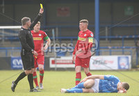 Danske Bank Premiership, Showgrounds, Coleraine , Co. Derry. Northern Ireland 1/5/2021. Coleraine V Cliftonville. Cliftonvilles Aaron Donnelly booked by match referee Raymond Crangle for a foul on Coleraines Aaron Jarvis.. Mandatory Credit INPHO/Presseye/Lorcan Doherty.