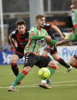 Danske Bank Premiership, Seaview Belfast.. Co Antrim 02/12/17. Crusaders v Glentoran. Mandatory Credit ©INPHO/Stephen Hamilton. Crusaders Howard Beverland  in action with Glentorans Robbie McDaid.