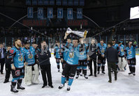 Press Eye - Belfast -  Northern Ireland - 06th April 2019 - Photo by William Cherry/Presseye. Belfast Giants\' Guillaume Gelinas pictured with the Elite Ice Hockey League trophy after being crowned Champions at the SSE Arena, Belfast.       Photo by William Cherry/Presseye