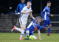 Danske Bank Premiership, Stangmore Park, Dungannon, Co. Tyrone 13/1/2018. Dungannon Swifts vs Coleraine. Dungannon\'s Kris Lowe with David Kee of Coleraine. Mandatory Credit ©INPHO/Matt Mackey