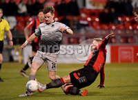 3/12/2019. Bet McLean league cup semi final between Crusaders and Institute at Seaview.. Crusaders David Cushley  in action with Institutes Aidan McMcCauley. Mandatory Credit Inpho/Stephen Hamilton