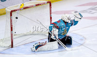 Press Eye - Belfast -  Northern Ireland - 10th March 2018 - Photo by William Cherry/Presseye. Belfast Giants Jackson Whistle can\'t stop Braehead Clan\'s Brendan Brooks from scoring during Saturday evenings Elite Ice Hockey League game at the SSE Arena, Belfast.