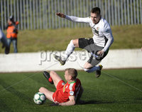 . Danske Bank Premiership Europa League Playoff, Solitude, Belfast 11/5/2019. Cliftonville vs Glentoran. Cliftonville\'s Liam Bagnall with Glentorans Robbie McDaid. Mandatory Credit INPHO/Stephen Hamilton.