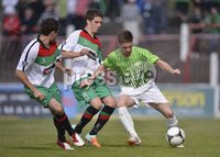 Press Eye - Belfast  - 11th August 2012. Danske Bank Premiership game between Glentoran and Donegal Celtic at The Oval, Belfast.. Glentorans Sean Ward with John McGuigan and Donegal Celtics David McAllister in action at Saturdays Danske Bank Premiership Game. . ©Russell Pritchard / Presseye