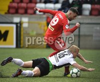 . Danske Bank Premiership, Solitude, Belfast 3/11/2018. Cliftonville vs Glentoran. Cliftonville\'s Joe Gormley in action with Glentorans Conor Pepper. Mandatory Credit INPHO/Stephen Hamilton