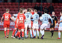 Press Eye - Belfast - 6th January 2018  . Cliftonville v Warrenpiont Town, Tennents Irish Cup 5th round at Solitude, North Belfast.. Tempers flare resulting in Jamie McGovern receiving a straight red card. . Picture by Matt Mackey / Inpho.ie
