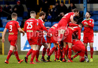 Danske Bank Premiership, Mourneview Park, Lurgan, Co. Armagh 13/1/2018. Glenavon vs Cliftonville. Cliftonville\'s Joe Gormley celebrates his goal with teammates. Mandatory Credit ©INPHO/Declan Roughan
