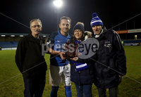 Danske Bank Premiership, Mourneview Park, Lurgan, Co. Armagh 13/1/2018. Glenavon vs Cliftonville. Glenavon\'s Sammy Clingan receives his player of the month award for December from Lou Holland, Lynn Moles and Lenny Moles. Mandatory Credit ©INPHO/Declan Roughan