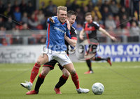 . Danske Bank Premiership Play-Off, Seaview, Belfast 14/4/2018 . Crusaders vs Linfield. Mandatory Credit ©INPHO/Stephen Hamilton. Crusaders Michael Carvill  with Linfields Kirk Millar