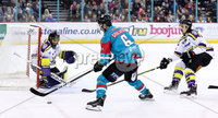 Press Eye - Belfast -  Northern Ireland - 11th February 2018 - Photo by William Cherry/Presseye. Belfast Giants Spiro Goulakos with Manchester Storm\'s Mike Clemente and Dallas Ehhrhardt during Sunday afternoons Elite Ice Hockey League game at the SSE Arena, Belfast.
