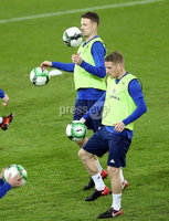 Press Eye - Belfast -  Northern Ireland - 11th November 2017 - Photo by William Cherry/Presseye. Northern Ireland\'s Steven Davis and Jonny Evans during Saturday nights training session at St. Jakob-Park ahead of Sunday nights World Cup Play Off against Switzerland in Basel.