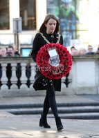 Press Eye - Belfast - Northern Ireland - 12th November 2017 . Belfast Lord Mayor Nuala McAllister lays a wreath at The Cenotaph in the Garden of Remembrance, City Hall Grounds, Belfast during the National Day of Remembrance . It is the city of Belfast's tribute to the memory of those who died in the Great War and the Second World War. . . Photo by Kelvin Boyes / Press Eye..