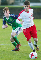 Press Eye Belfast - Northern Ireland 28th November 2017. School boys International - Northern Ireland Vs Poland at the Dub in south Belfast. . Northern Ireland\'s Sean Stewart with Poland\'s Bartosz Zynek. . Picture by Jonathan Porter/PressEye.com