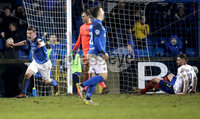 Danske Bank Premiership, Mourneview Park, Co. Armagh 3/4/2018 . Glenavon vs Linfield. Mandatory Credit ©INPHO/William Cherry. Glenavon\'s Bobby Burns celebrates scoring against Linfield