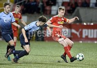 7th August 2018. Danske Bank Irish premier league match between Cliftonville and Institute at Solitude in Belfast.. Cliftonvilles Chris Curran  in action with Institutes Callum Moorehead.  Mandatory Credit: Stephen Hamilton /Inpho