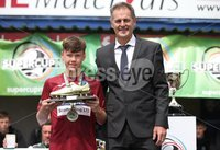 PressEye-Northern Ireland- 27th   July  2018-Picture by Brian Little/PressEye. SuperCupNI. Minor  Section . Golden boot Winner Jayden Withers  , presented by Nigel Dobson, Head of Sport University of Ulster after  the SuperCupNI Minor Final  at Coleraine Showgrounds. . Picture by Brian Little/PressEye