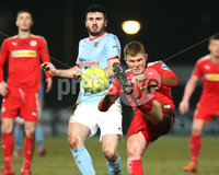 Danske Bank Premiership, Ballymena United vs Cliftonville, The Ballymena Showgrounds, Co. Antrim . 3/4/2018 . Ballymena United\'s Joe. McKinney in action with Cliftonville\'s Levi. Ives. Mandatory Credit ©INPHO/Matt Mackey