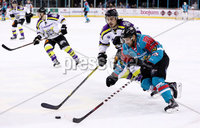 Press Eye - Belfast -  Northern Ireland - 11th February 2018 - Photo by William Cherry/Presseye. Belfast Giants David Rutherford with Manchester Storm\'s Dallas Ehhrhardt during Sunday afternoons Elite Ice Hockey League game at the SSE Arena, Belfast.
