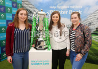 Press Eye - Belfast - Northern Ireland - 16th May 2018. First day of the 2018 Balmoral Show, in partnership with Ulster Bank, at Balmoral Park.  Ulster Bank has the NatWest Six Nations trophy at its stand over the four days of this year's Balmoral Show. Visitors to the show today had the chance to have their photo taken with the trophy which Ireland claimed this year as part of their Grand Slam success. Pictured with the trophy are Julie Causey, Linzi McClure and Emma Orr from Cooktown,. . Picture by Jonathan Porter/PressEye