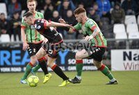 Danske Bank Premiership, Seaview Belfast.. Co Antrim 02/12/17. Crusaders v Glentoran. Mandatory Credit ©INPHO/Stephen Hamilton. Crusaders Gavin Whyte  in action with Glentorans Kym Nelson.