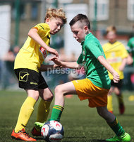 ©/Presseye.com - 9th July 2017.  Press Eye Ltd - Northern Ireland - Hughes Insurance Foyle Cup 2017- Mini Soccer U-10 - Clonmany Sdhamrocks (Donegal) V Aileach FC (Donegal). Clonmany Shamrock\'s Isaac Driver and Aileach\'s Kevin Boyle..  . Mandatory Credit Photo Lorcan Doherty / Presseye.com