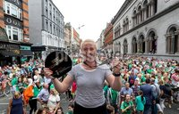 Irish Hockey Team Homecoming, Dublin 6/8/2018. Ireland\'s Ayeisha McFerran with her award for best goalkeeper at the World Cup. Mandatory Credit  ©INPHO/Tommy Dickson
