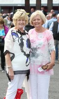 Press Eye - Belfast - Northern Ireland - 13th July 2017 . Downpatrick racecourse family fun race day.. Angela Bruce and Susan Robinson.. Picture by Matt Mackey / presseye.com.