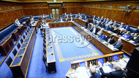 Presseye.com. 21/10/2019. MLAS pictured at Stormont  chamber where local MLAs returned to the chamber to debate laws on abortion and same sex marriage which will change at midnight  tonight .. Mandatory Credit Stephen Hamilton /Presseye