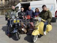 13th April 2019. Hundreds of pictured at the annual Easter egg ride out in aid of the Royal Children\'s hospital.. Trevor and Margaret Patterson and Roger Dickson pictured with Ronnie Oliver,Jenny McDonald from the Royal Children\'s Hospital. Mandatory Credit -Presseye/Stephen Hamilton .