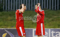 Picture - Kevin Scott / Presseye. Belfast , UK - NOVEMBER 21, Pictured is Cliftonvilles\' David McDaid scores and celebrates with Martin Donnelly in action during the game at Solitude in Belfast, Northern Ireland on November 21 (Photo by Kevin Scott / Presseye).