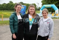 Press Eye - Belfast - Northern Ireland - 5th June 2016 - . Harriet Gilmore from Saintfield, Jennifer Higgins from Belfast and Sophie Mills from Belfast  take part in the first ever Centra 5k pairs run for Action Cancer at Ormeau Park.. Over 100 families, friends and colleagues paired up today (Sunday 5th June) for the inaugural Centra Run Together event at Ormeau Park, raising vital funds for local charity Action Cancer. . Run Together is a set of four 5k races taking place across Belfast, Mid Ulster and Derry between June and October which encourage you to run with your partner, son, daughter, friend or neighbour. . Picture by Kelvin Boyes / Press Eye . .