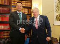Press Eye - Belfast - Northern Ireland - 13th January 2020. British Prime Minister Boris Johnson visits Stormont in east Belfast after power sharing returned at the weekend to the Northern Ireland Assembly.. Prime Minister Boris Johnson and Irish Taoiseach Leo Varadkar at Parliament Buildings.. Picture by Jonathan Porter/PressEye