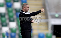 Press Eye - Belfast -  Northern Ireland - 12th August 2017 - Photo by William Cherry/Presseye. Carrick manager David McAlinden during Saturdays Danske Bank Premiership game against Linfield at the National Stadium at Windsor Park, Belfast.