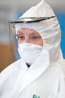 Press Eye - Belfast - Northern Ireland - 6th April 2020 -  Photo by Kelvin Boyes / Press Eye.. Employees from Denroy Group are pictured assembling quantities of the Hero Shield visor at the factory in Bangor, County Down.. The Hero Shield is a visor designed to protect healthcare workers from liquid splashes and bodily fluids when treating Covid-19 infectious patients, it has been created by a collective of companies throughout Northern Ireland who want to help our Heroic Key Workers in this time of crisis. .  . Denroy are proud to be able to contribute in a small way to help combat Covid 19 while ensuring the health and safety of their staff and their families. That is why over the past weeks the Denroy Group have implemented measures on: Hygiene, Social Distancing, Travel and Visitors. Denroy M.D John Irwin stated: I am very proud of our staff and thank them for their ongoing efforts during this outbreak. By helping provide the Hero Shields the Denroy team is making a worthy contribution to helping fight this terrible virus and support the NHS. I cant wait to see this on the production line..  .  . Additional Information:.  . For more information and to pre-order please go to the following website: https://heroshield.net/ There will also be supplies available for purchase at cost price, for other businesses and individuals who require them, Hero-Shield have started a Justgiving funding page to encourage donations to keep the cause going for the duration of the pandemic, so if you feel you would like to make a contribution, the link can be found below. https://lnkd.in/gd7x3AY.  .  .