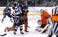 Press Eye - Belfast, Northern Ireland - 30th November 2019 - Photo by William Cherry/Presseye. Princeton Tigers\' Ryan Ferland with UNH Wildcats\' Charlie Kelleher during Saturday afternoons Friendship Four game at the SSE Arena, Belfast.      Photo by William Cherry/Presseye