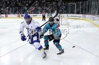 Press Eye - Belfast, Northern Ireland - 06th March 2020 - Photo by William Cherry/Presseye. Belfast Giants\' Bobby Farnham with Fife Flyers during Friday nights Elite Ice Hockey League game at the SSE Arena, Belfast.   Photo by William Cherry/Presseye