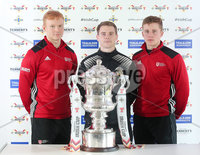 Press Eye Northern Ireland . Thursday 6th December 2018. Picture by Jonathan Porter  / Press Eye . . 5th Round Draw of the Tennent\'s Irish Cup that took place today in Pat Jennings Lounge, National Football Stadium at Windsor Park.. Lisburn Distillerys Aaron Harris is flanked by Queens University players Daire Rooney and Gareth Orr at the Tennents Irish Cup fifth round draw. The teams will face each other at The Dub in round five on Saturday 5 January..