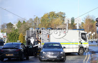 Press Eye Belfast - Northern Ireland 12th November 2017. The scene on Durmragh Avenue in Omagh where a security alert is taking place.  A Remembrance Day ceremony at the town\'s Cenotaph was called off due to the alert. . Picture by Jonathan Porter/PressEye.com