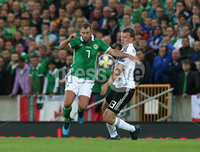 Press Eye - Belfast - Northern Ireland - 9th September 2019 - Picture Matt Mackey / Press Eye.. EURO qualifier 2020 match at the National Stadium at Windsor Park, Belfast. Northern Ireland Vs Germany.. Northern Ireland\'s Niall McGinn with Germany\'s Lukas Klostermann.