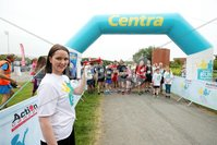 Press Eye - Belfast - Northern Ireland - 5th June 2016 - . Jennifer Morton starts the first ever Centra 5k pairs run for Action Cancer at Ormeau Park.. Over 100 families, friends and colleagues paired up today (Sunday 5th June) for the inaugural Centra Run Together event at Ormeau Park, raising vital funds for local charity Action Cancer. . Run Together is a set of four 5k races taking place across Belfast, Mid Ulster and Derry between June and October which encourage you to run with your partner, son, daughter, friend or neighbour. . Picture by Kelvin Boyes / Press Eye . .