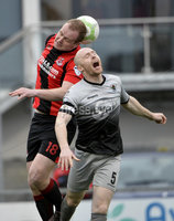 07/12/2019. Danske Bank Premiership, Seaview, Belfast Co. Antrim . Crusaders v Institute. Crusaders Jordan Owens  in action with Institutes Dean Curry. Mandatory Credit INPHO/Stephen Hamilton.