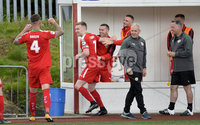 Press Eye Belfast - Northern Ireland 12th August 2017. Danske Bank Irish Premier league match between Cliftonville and Ards at Solitude Belfast.. Cliftonville\'s Chris Curran  celebrates after he slots home to make the score 3-1.  Photo by Stephen  Hamilton / Press Eye