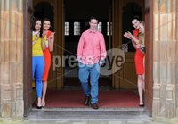 Presseye Ltd Northern Ireland 15th Feb 2012. Mandatory Credit - Photograph by Declan Roughan / Presseye. QUB Students Charity Fund Raising Fashion Show Launch - 15 Feb 2012. (L-R) Emma O\'kane, SInead McNally, Gilbert RIce, Micheala O\'Neill and Emma Sproule