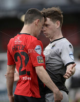 07/12/2019. Danske Bank Premiership, Seaview, Belfast Co. Antrim . Crusaders v Institute. Crusaders  Paul Heatley in action with Institutes Aiden McAuley. Mandatory Credit INPHO/Stephen Hamilton.