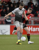 07/12/2019. Danske Bank Premiership, Seaview, Belfast Co. Antrim . Crusaders v Institute. Crusaders Billy Joe Burns  in action with Institutes Colm McLaughlin . Mandatory Credit INPHO/Stephen Hamilton.
