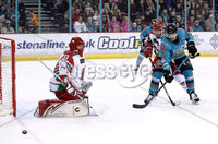 Press Eye - Belfast, Northern Ireland - 01st February 2020 - Photo by William Cherry/Presseye. Belfast Giants\' Liam Morgan with Cardiff Devils\' Ben Bowns during Sunday afternoons Elite Ice Hockey League game at the SSE Arena, Belfast.   Photo by William Cherry/Presseye