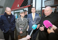 Press Eye - Belfast - Northern Ireland - 30th November 2018. . The Detail journalists Barry McCaffrey(second from left) and Trevor Birney(left) pictured leaving PSNI Musgrave Street Station where they attended for further questioning after they were recently arrested regarding allegedly stolen information which appeared in the documentary \'No Stone Unturned\'.  The documentary told the story of the murder of six men by the UVF in a pub in Loughinisland, Co. Down. . The NUJ also held a protest outside the station in support of the two journalists. . Picture by Jonathan Porter/PressEye