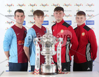 Press Eye Northern Ireland . Thursday 6th December 2018. Picture by Jonathan Porter  / Press Eye . . 5th Round Draw of the Tennent\'s Irish Cup that took place today in Pat Jennings Lounge, National Football Stadium at Windsor Park.. . Abbey Villa\'s Alan Strain, Louis Gault-Reid and Portadown\'s Podraig Robinson, Callum Ferris