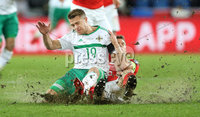 Press Eye - Belfast -  Northern Ireland - 12th November 2017 - Photo by William Cherry/Presseye. Northern Ireland\'s Jamie Ward with Switzerland\'s Stephan Lichtsteiner during Sunday nights World Cup Play Off 2nd leg game at St. Jakob-Park, Basel.